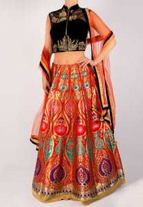 VIBRANT BROCADE LEHENGA WITH A VELVET ZIP FRONT BLOUSE AND DUPATTA