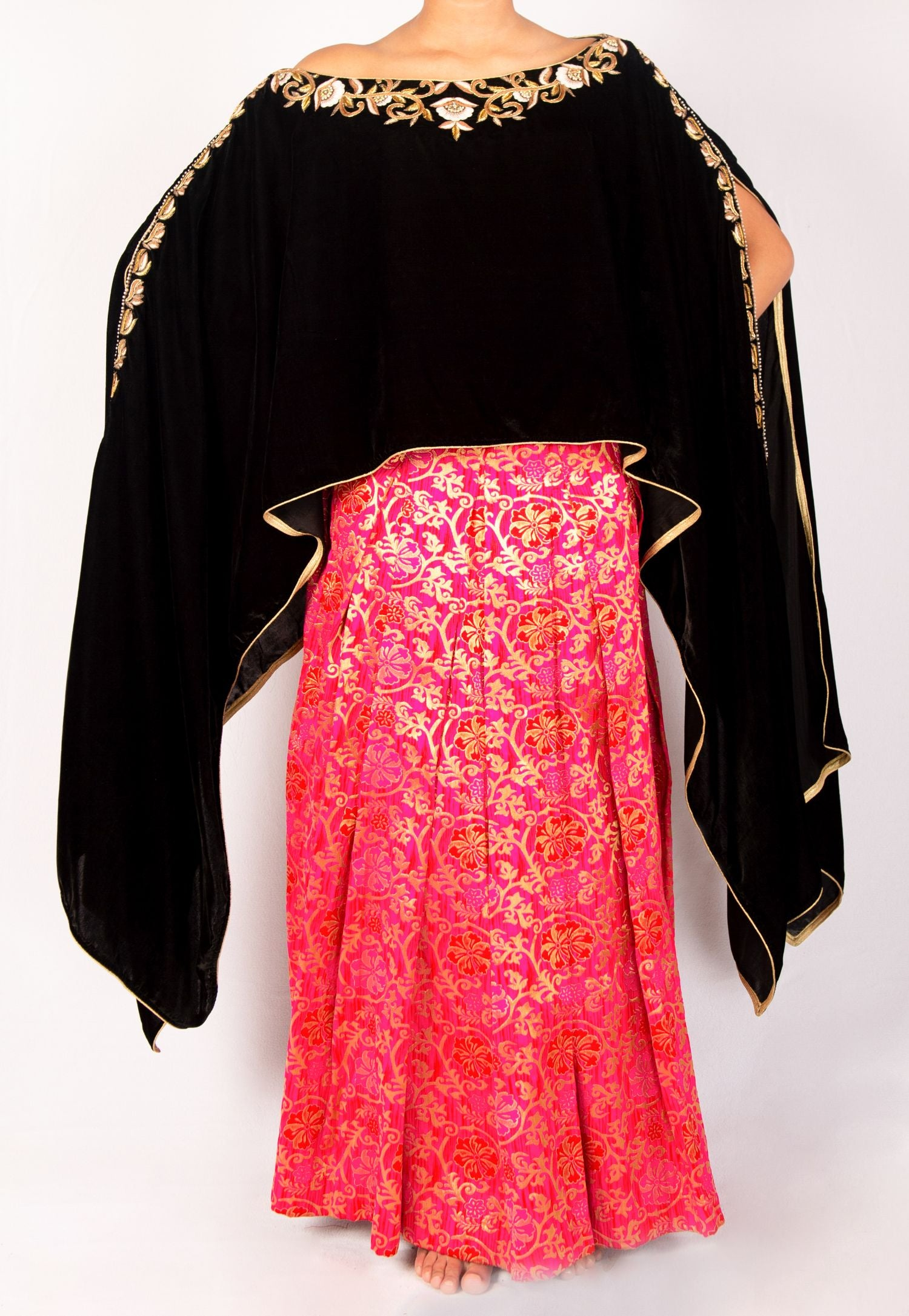 BROCADE PINK PLEATED SKIRT WITH BLACK VELVET CAPE TOP