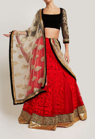 VELVET EMBROIDERED BLOUSE WITH A RED LACE LEHENGA