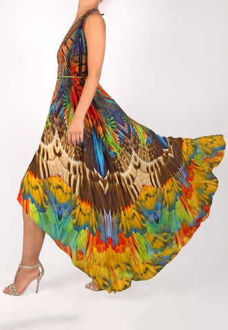 SHAHIDA PARIDES HIGH-LOW CONVERTIBLE MAXI DRESS WITH SWAROVSKI DETAIL