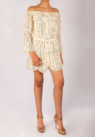OFF WHITE ROMPER WITH SEQUINS
