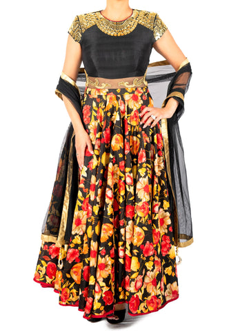BLACK AND ORANGE FLORAL ANARKALI WITH GOLD MIRRORWORK