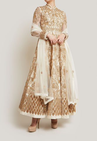 OFF WHITE AND GOLD ANARKALI