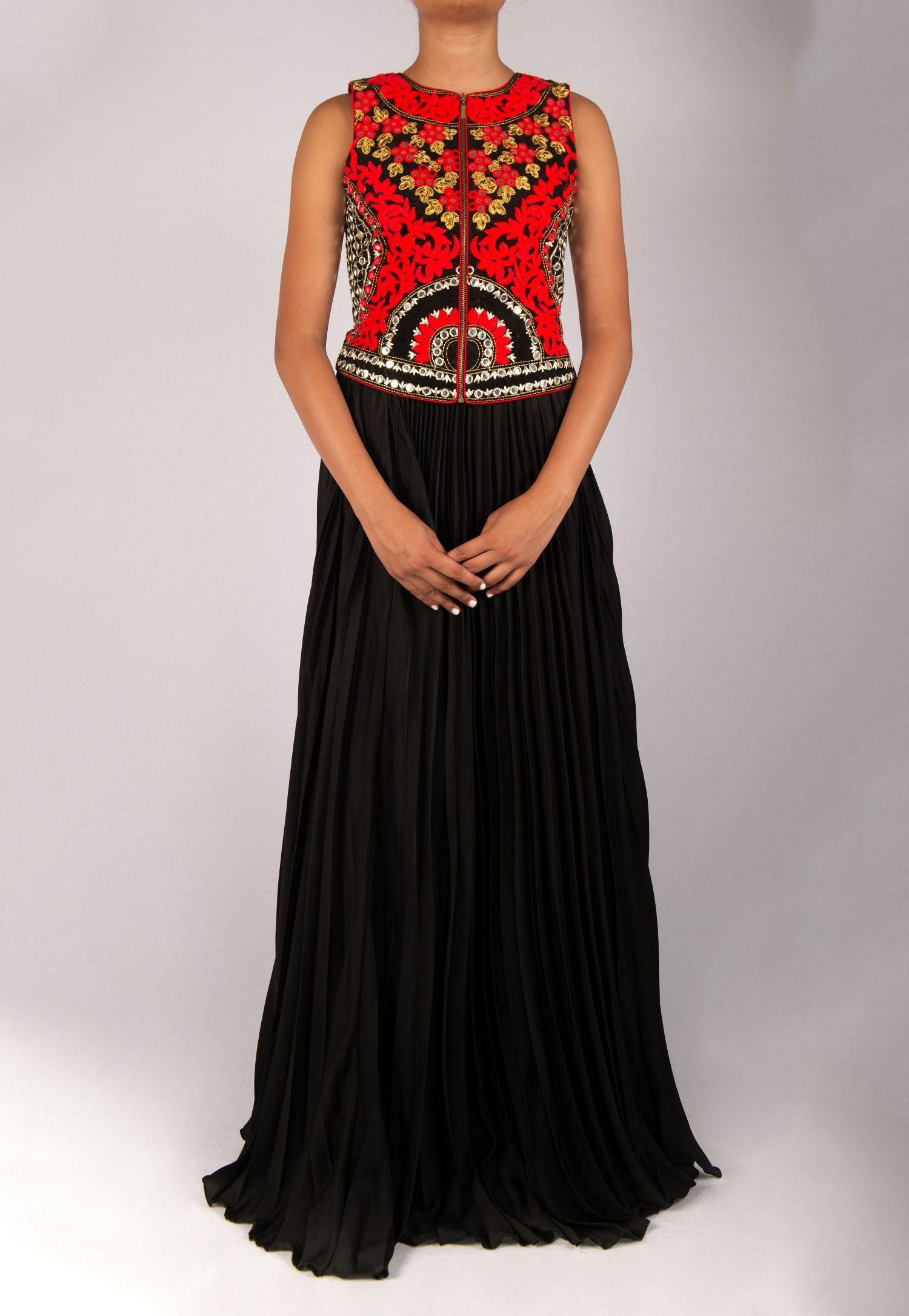 EXQUISITELY MIRROR EMBROIDERED TOP WITH PLEATED SKIRT