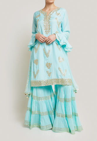 BLUE AND GOLD SHARARA SET