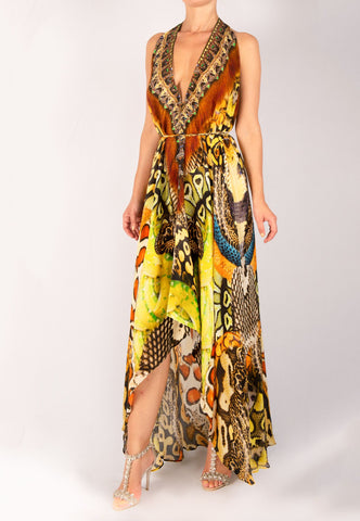 SHAHIDA PARIDES SNAKESKIN PRINT CONVERTIBLE MAXI DRESS RESORTWEAR