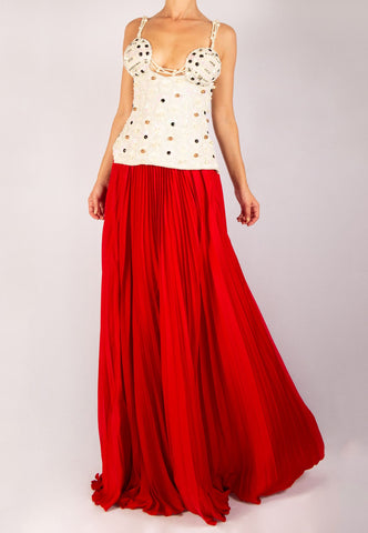 PEARL EMBELLISHED WHITE BUSTIER WITH A RED SKIRT
