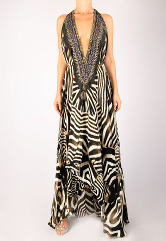 SHAHIDA PARIDES ZEBRA PRINT HIGH-LOW CONVERTIBLE MAXI DRESS RESORTWEAR