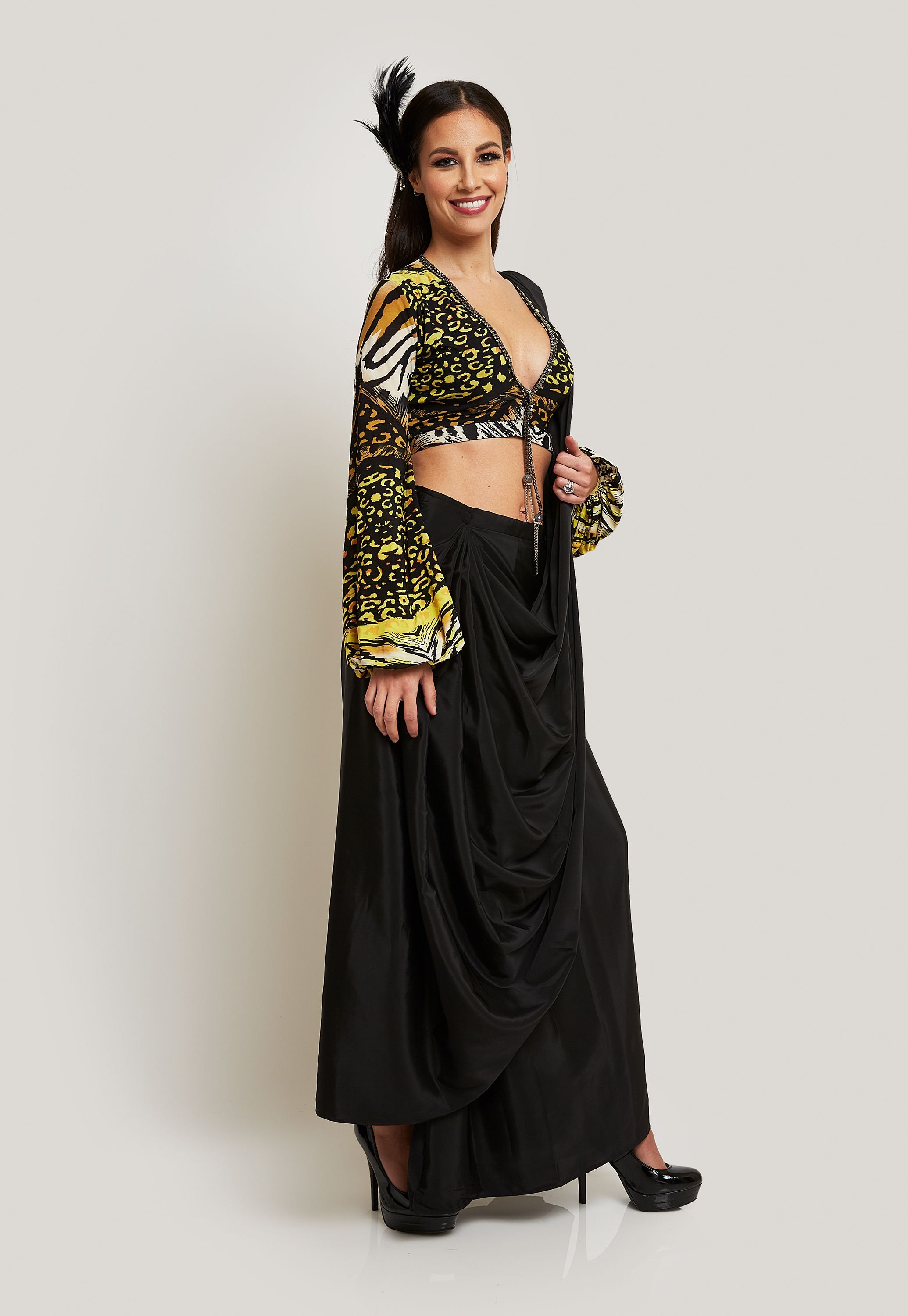 ANIMAL PRINT BLOUSE WITH A STITCHED SAREE AND PANTS