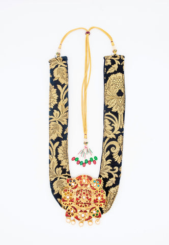 BROCADE FABRIC NECKLACE WITH LARGE GOLD PENDANT WITH RED, GREEN AND PEARL EMBEDDED STONES