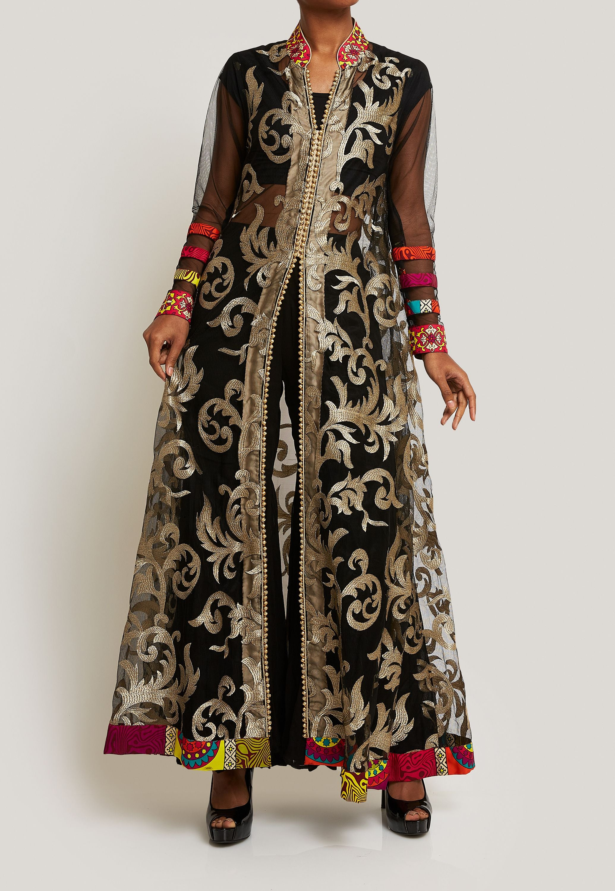 BLACK AND GOLD NET LONG JACKET WITH SHARARA PANTS