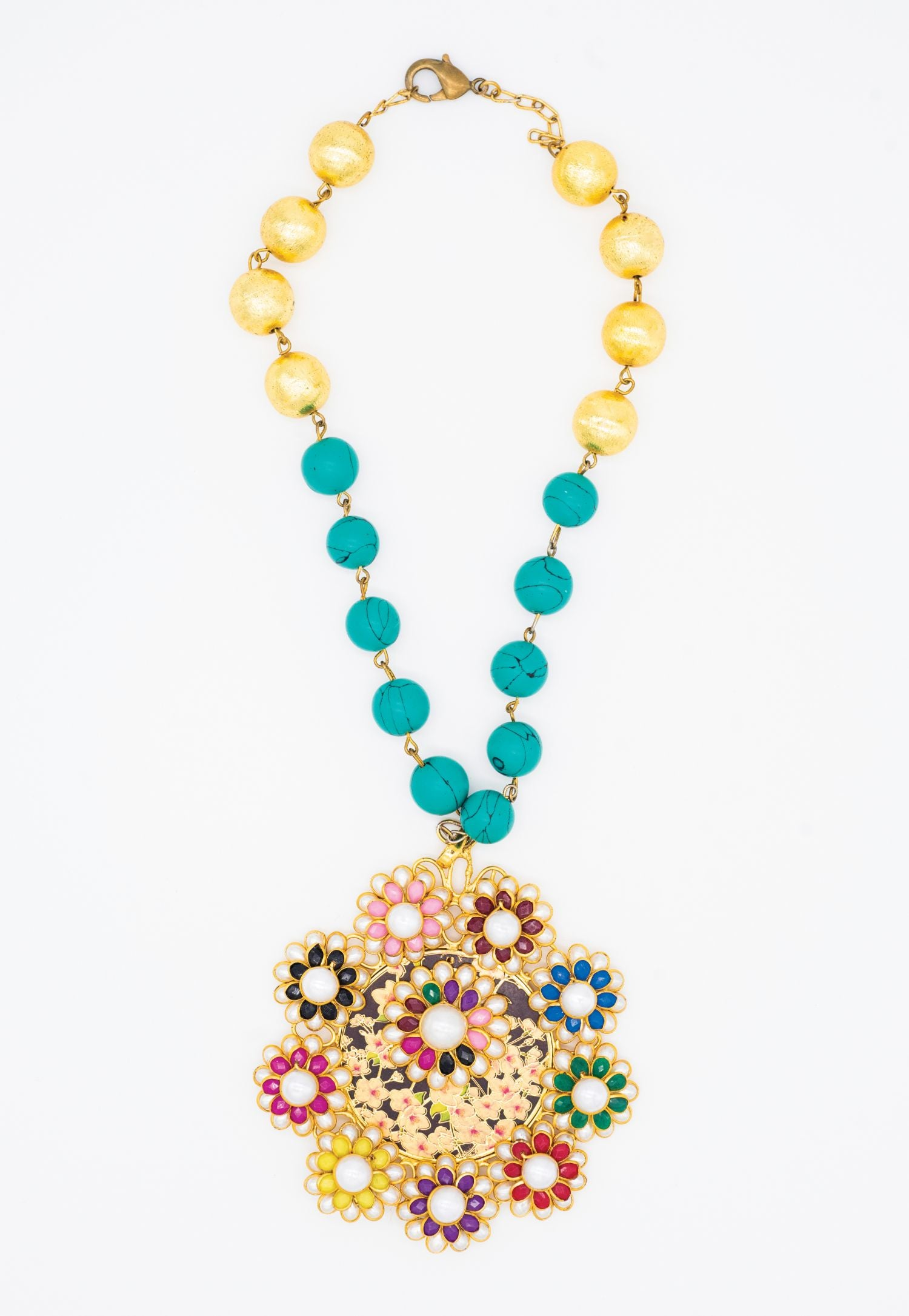 TURQUOISE AND GOLD NECKLACE
