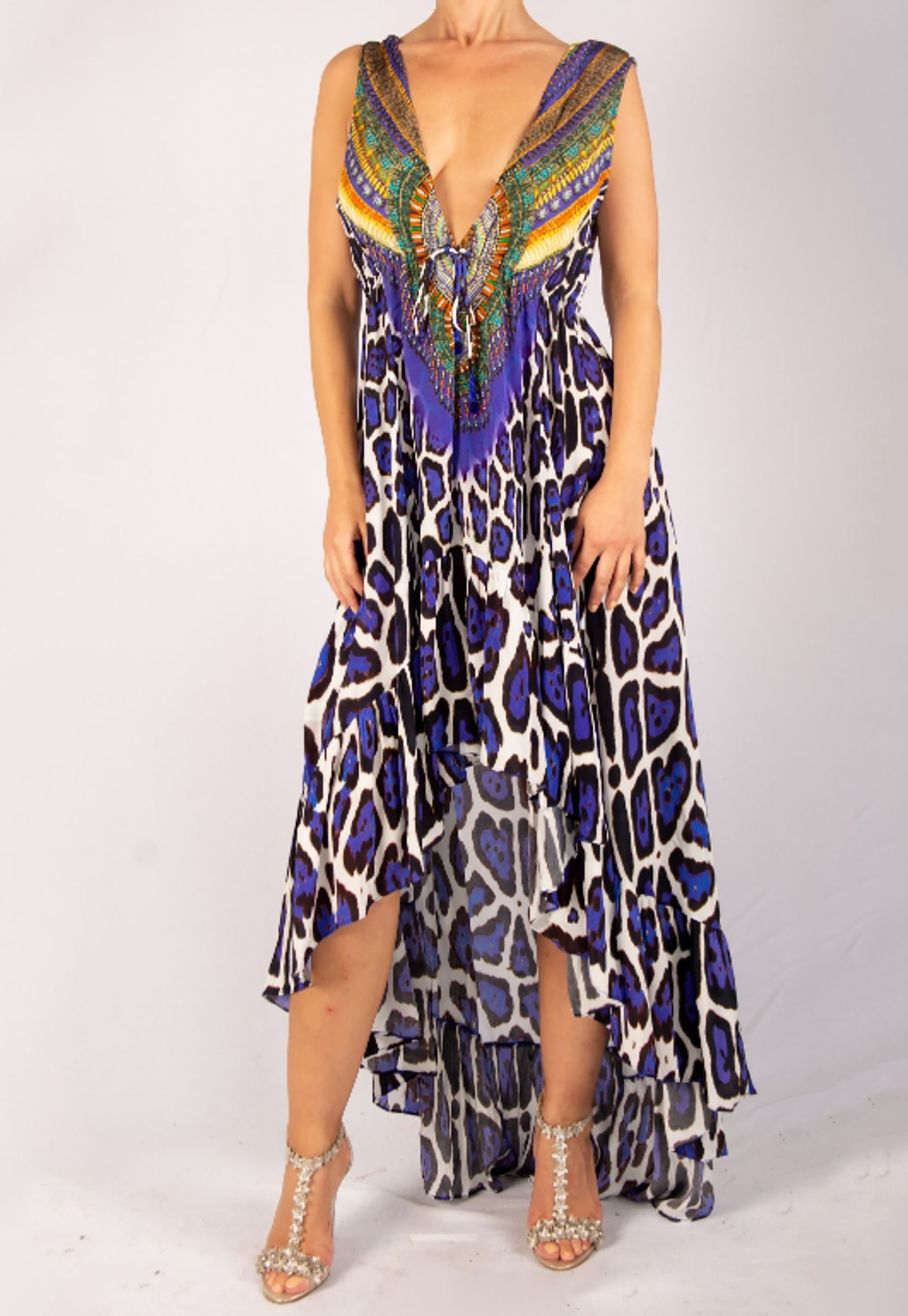 SHAHIDA PARIDES PURPLE HIGH-LOW CONVERTIBLE MAXI DRESS RESORT WEAR
