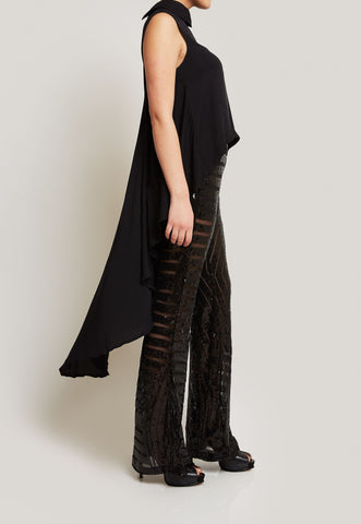 BLACK ASYMMETRICAL TOP WITH SEQUIN PANTS