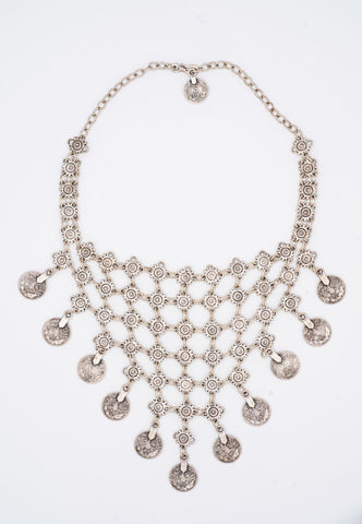 SILVER HANDCRAFTED NECKLACE WITH SILVER COINS