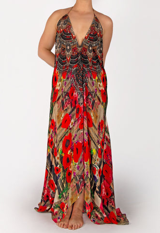 SHAHIDA PARIDES POPPY RED CONVERTIBLE MAXI DRESS RESORT WEAR