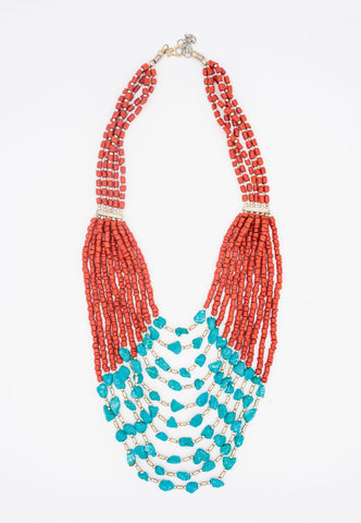 TURQUOISE, SILVER AND RED BEADS ON A MULTI STRAND NECKLACE