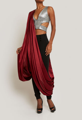 FUN AND EDGY SILVER CROP TOP BLACK PANTS AND TWO MAROON SASHES DRAPED ENSEMBLE