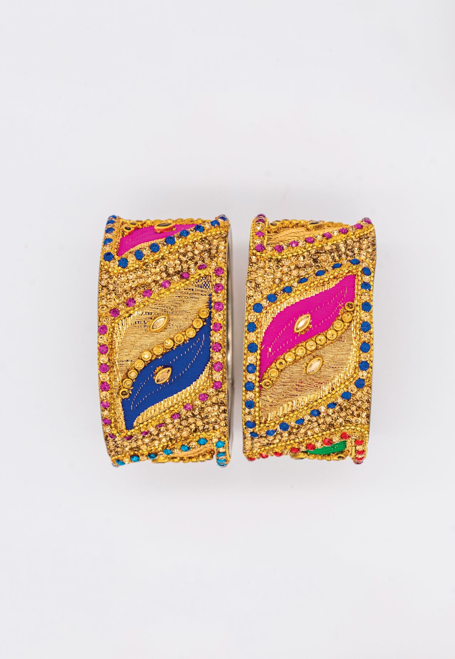 GOLD BANGLES WITH ROYAL BLUE AND PINK ENAMEL WAVE PATTERN