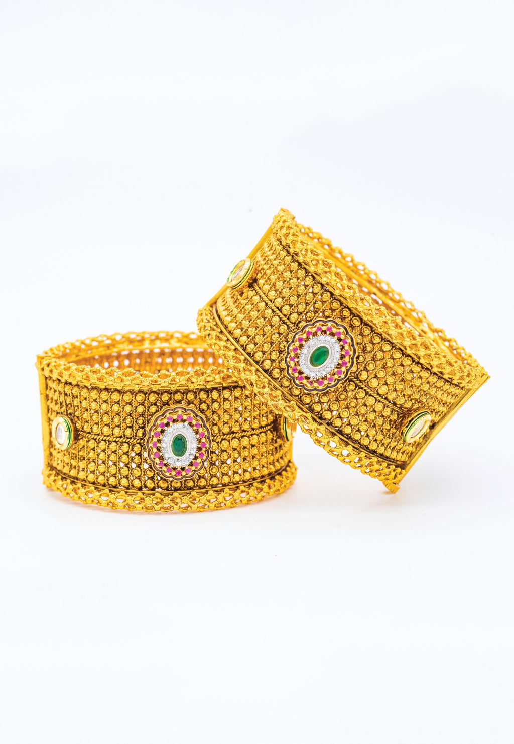 OPPULENT GOLD BANGLES WITH ENAMEL ACCENTS
