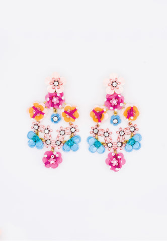 PINK FLORAL EARRINGS WITH SPARKLY RHINESTONES