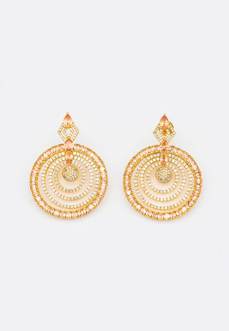 SHIMMERING GOLD RHINESTONES EARRINGS