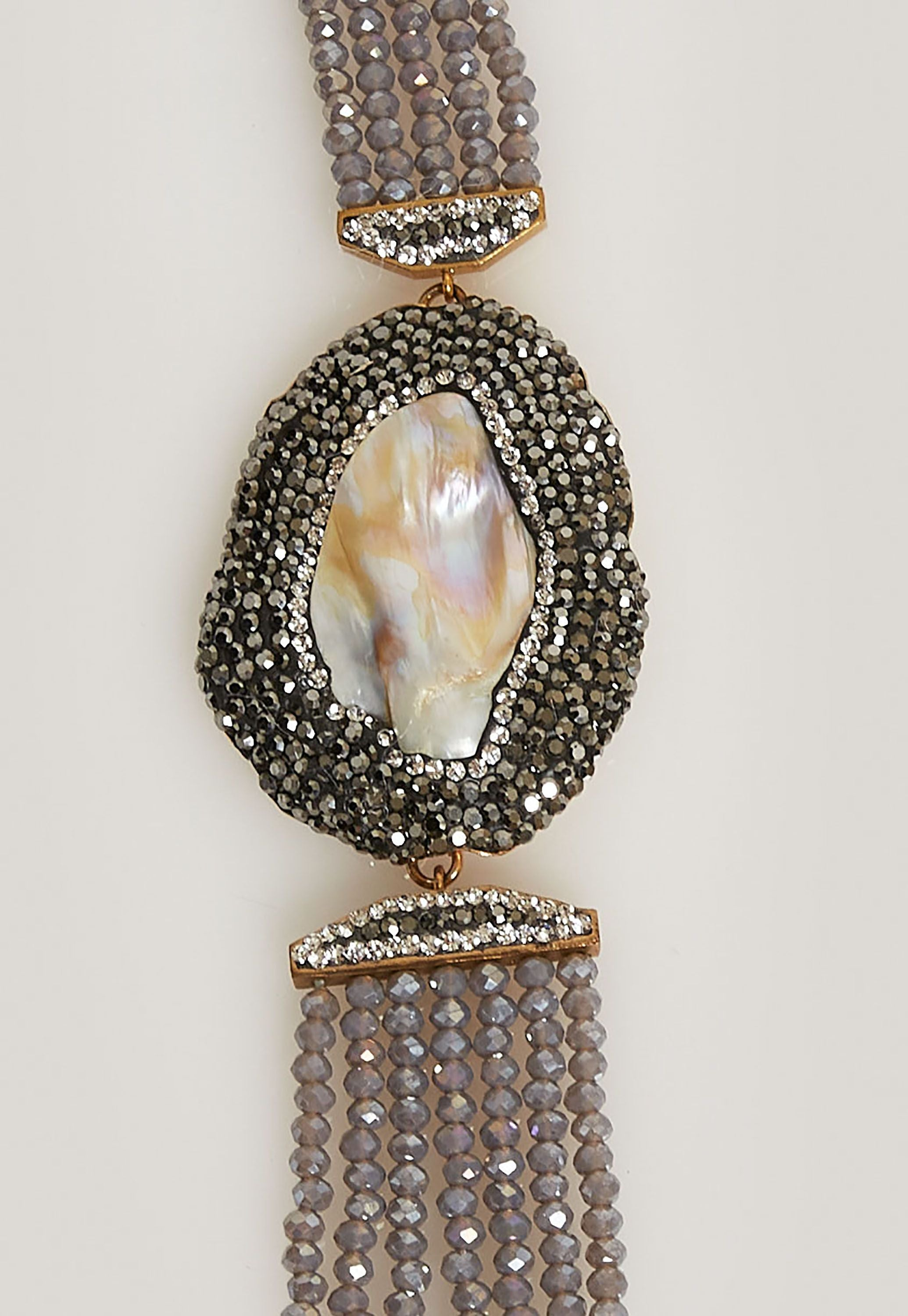 SILVER BEADS AND MOTHER OF PEARL WITH BLACK PAVÉ SIMULATED DIAMONDS