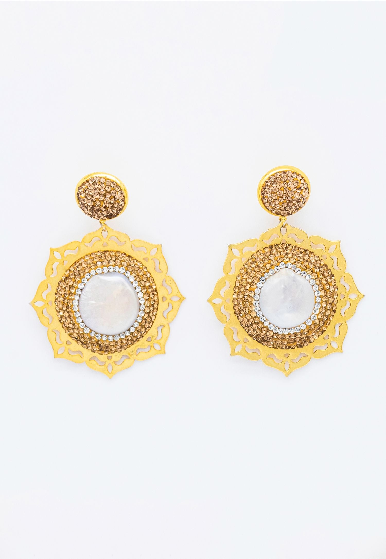 MOTHER OF PEARL, GOLD PAVÉ RHINESTONE EARRINGS