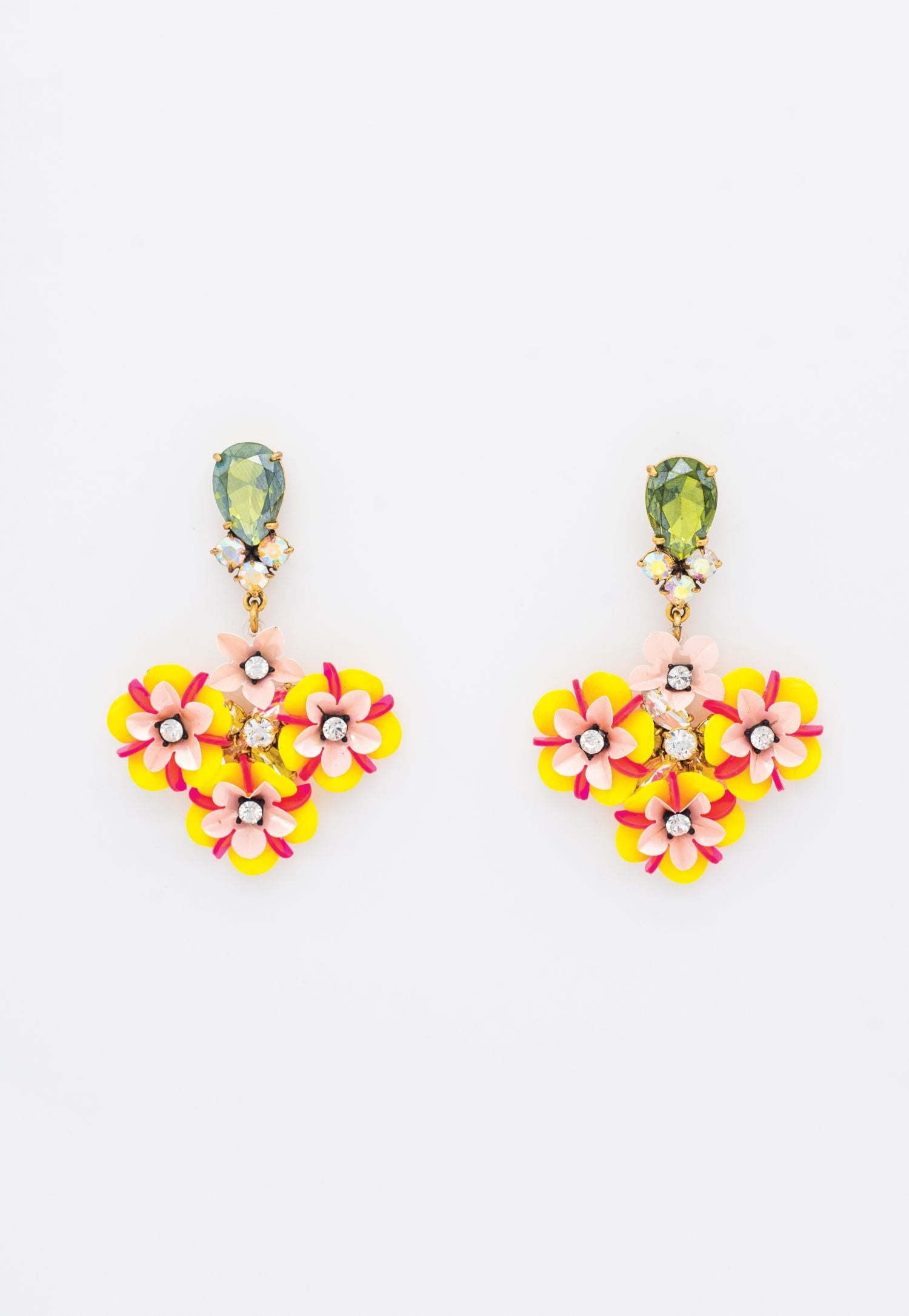 YELLOW FLORAL AND GREEN RHINESTONE EARRINGS