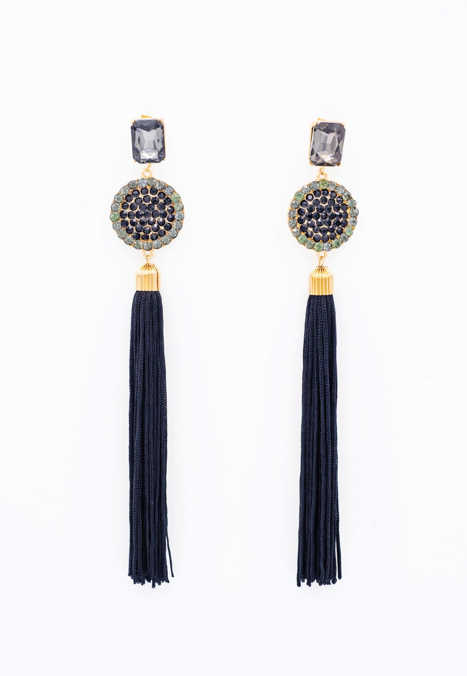 BLACK, GOLD AND TASSLE EARRINGS