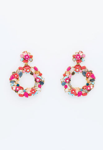 PINK FLORAL EARRINGS WITH SPARKLY MULTICOLOR RHINESTONES