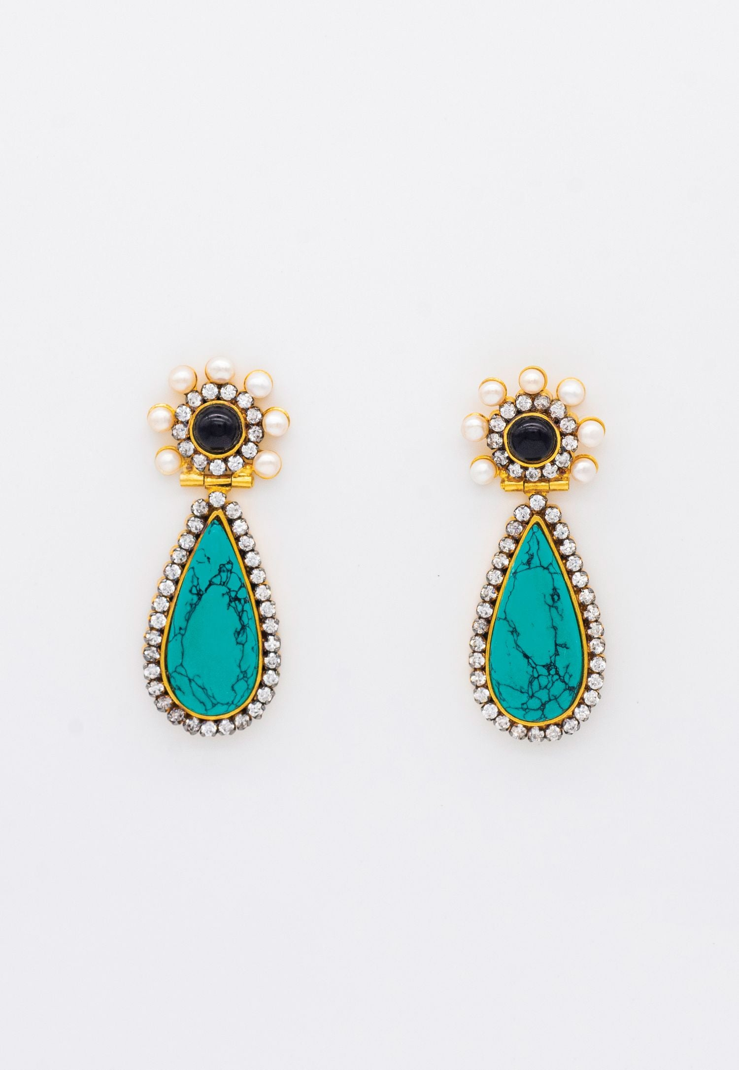 GOLD AND TURQUOISE  DROP EARRINGS WITH PEARLS AND CZ STONES
