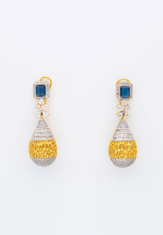 DROP EARRINGS WITH CZ AND TOPAZ COLORED RHINESTONES AND BLUE STONE