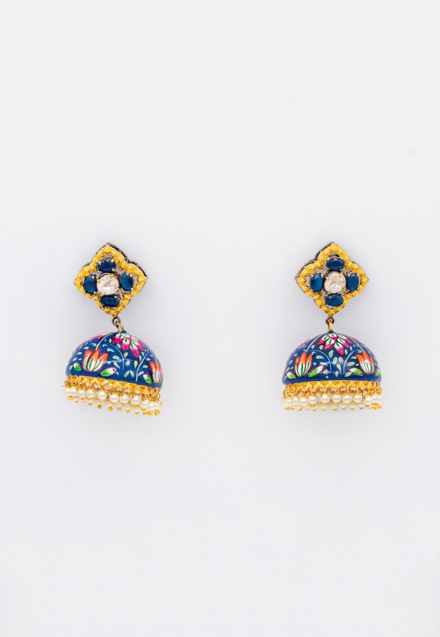 BLUE, PINK GOLD AND PEARL EMBELLISHED JHUMKA EARRINGS