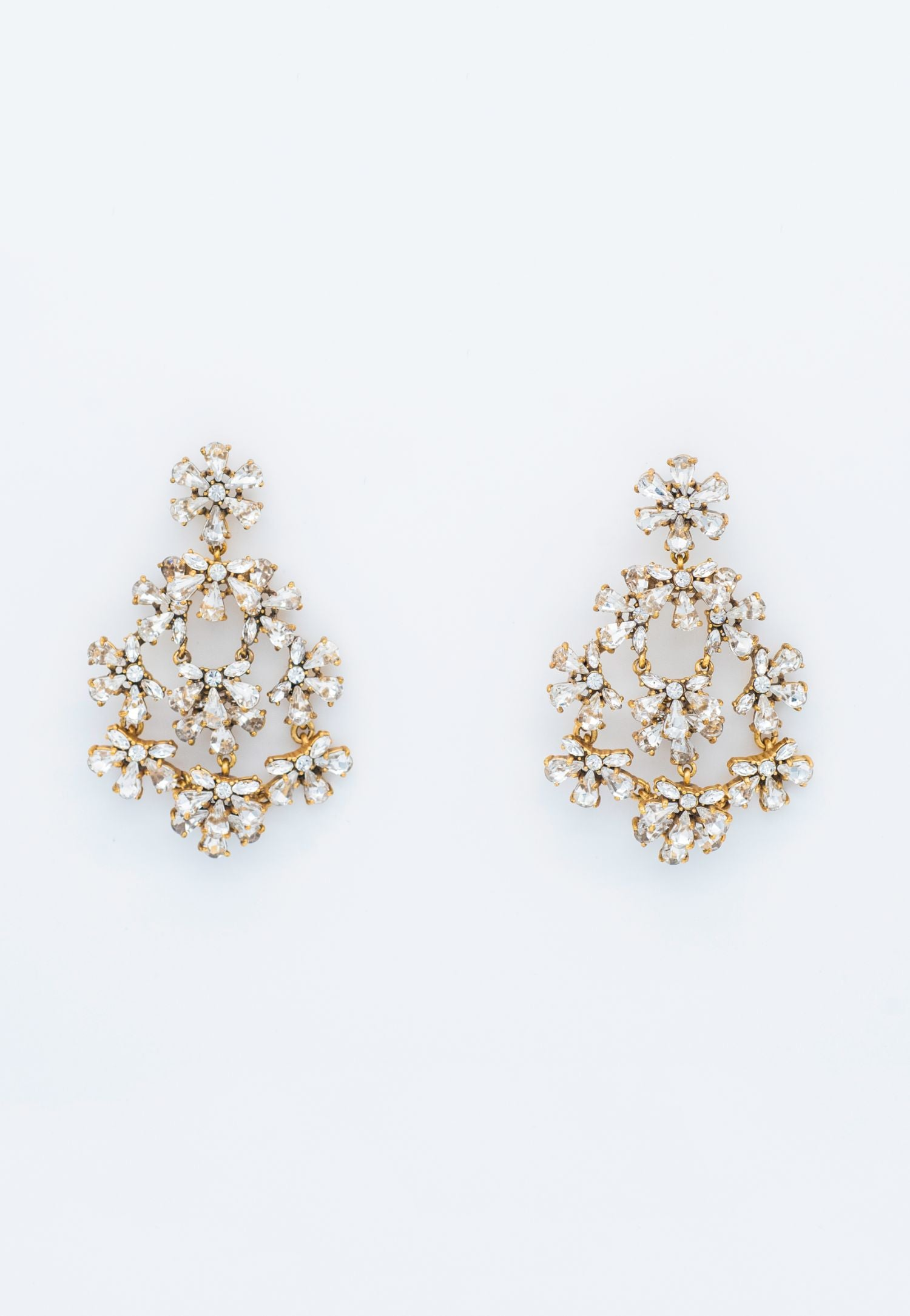 RHINESTONE STUDDED CHANDELIER EARRINGS
