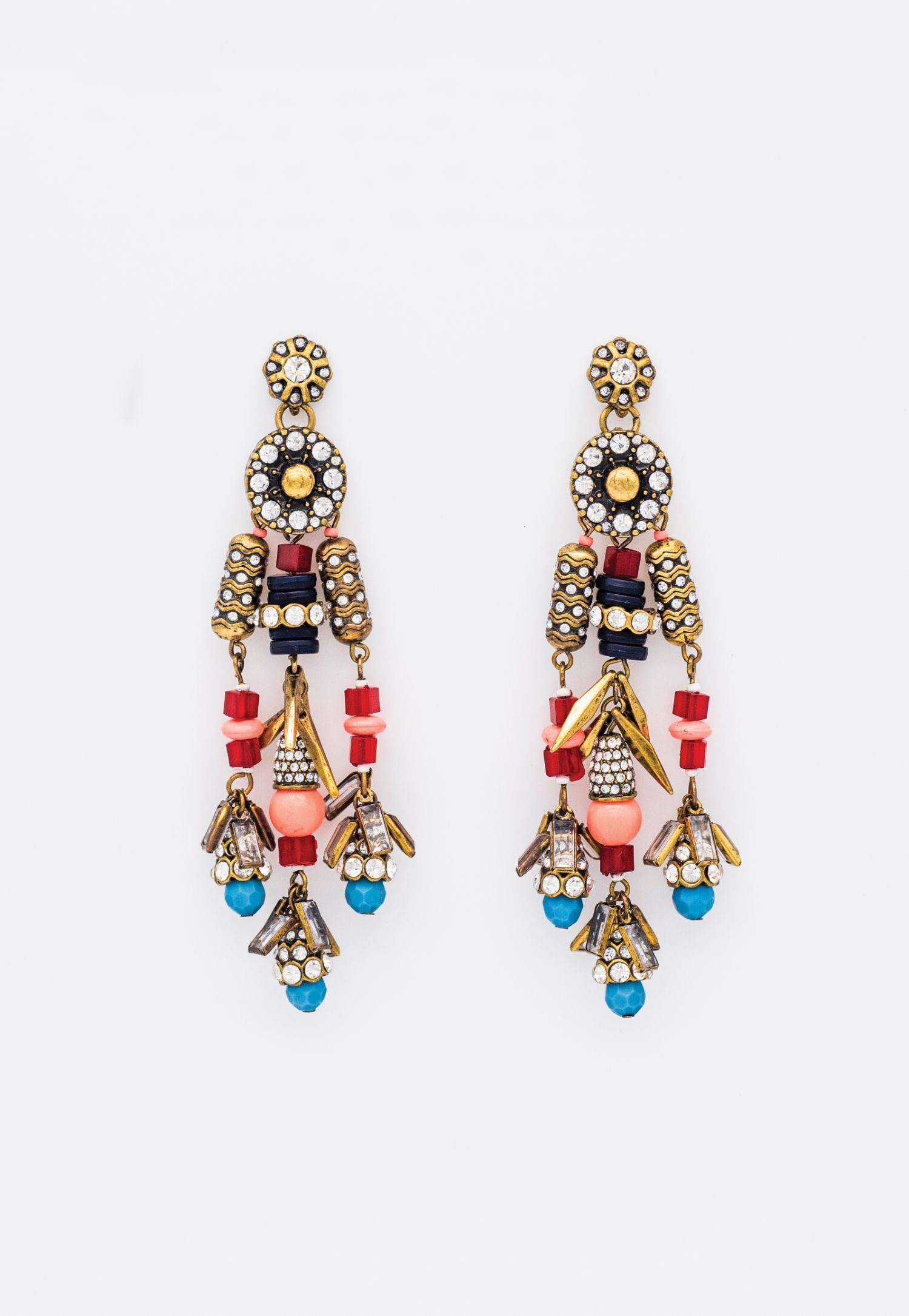 BEADED TURQUOISE RED AND PINK STONE CHANDELIER EARRINGS