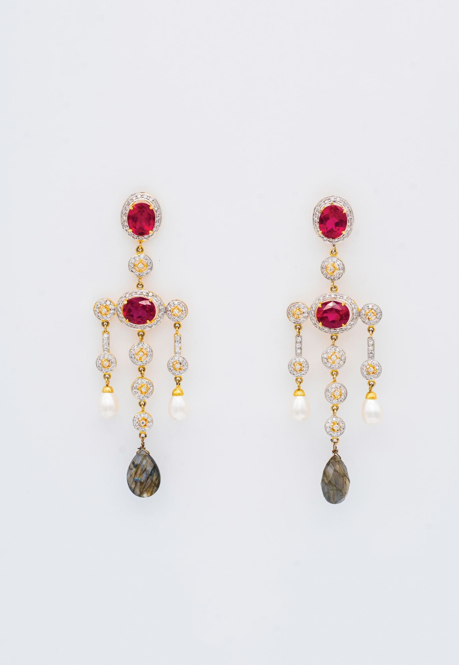 RED, GRAY AND CUBIC ZIRCONIA RHINESTONES CHANDELIER EARRINGS
