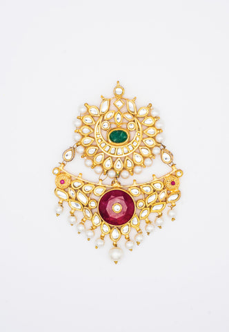 GOLD KUNDAN, GREEN AND RED ENAMEL PASA/JHUMAR