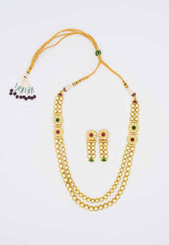KUNDAN MULTI-LAYER SET WITH RED AND GREEN STONES