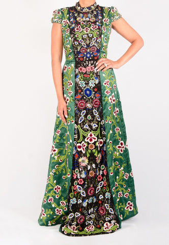 ALICE AND OLIVIA EMBROIDERED GREEN GOWN