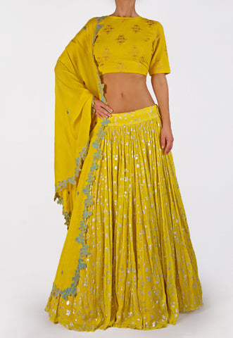 NAUTANKY BY NILESH PARASHER BEAUTIFUL YELLOW LEHENGA