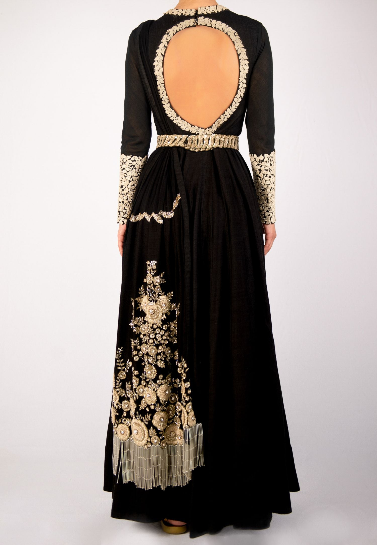 SABYASACHI BLACK FITTED FLARED GOWN WITH PARSI EMBROIDERY WORK