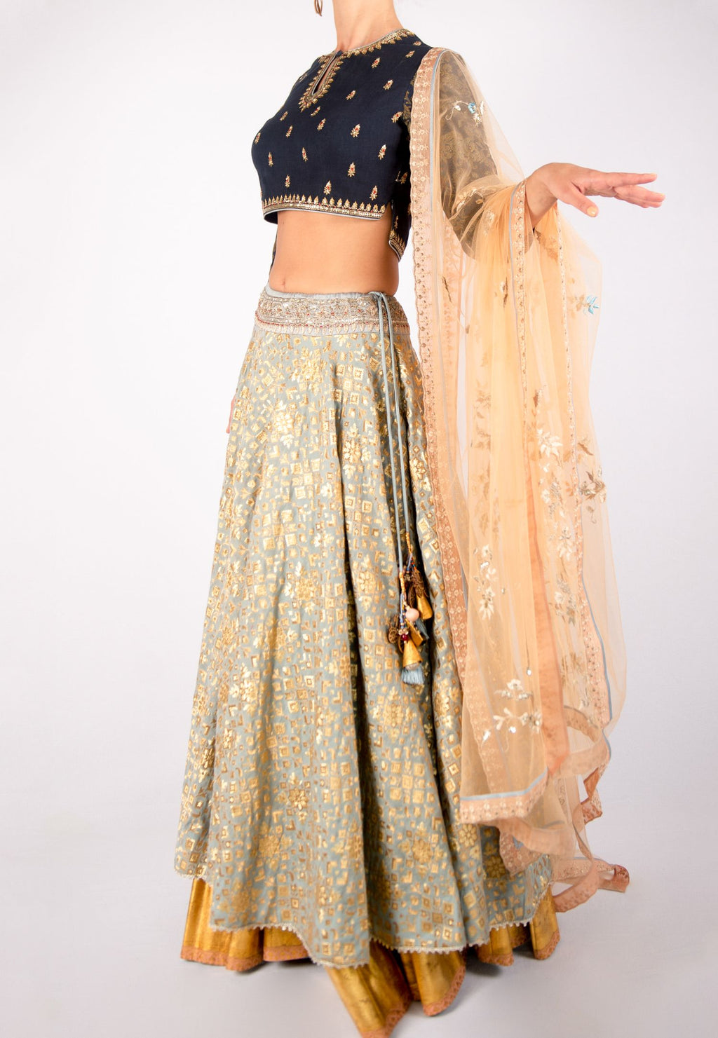 ANJU MODI BLUE AND GRAY LEHENGA