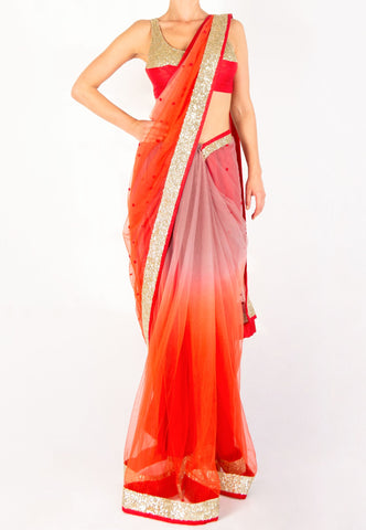 RED OMBRE NET SAREE