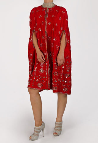 SURILY GOEL RED CAPE JACKET