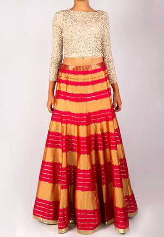 ALICE AND OLIVIA SEQUINED TOP WITH PLEATED SILK LEHENGA (SKIRT)