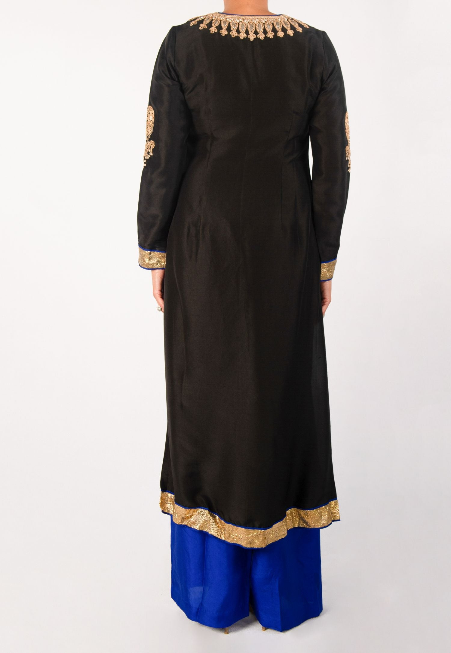 BLACK KURTA, GOLD EMBROIDERY WITH BLUE PALAZZO PANTS