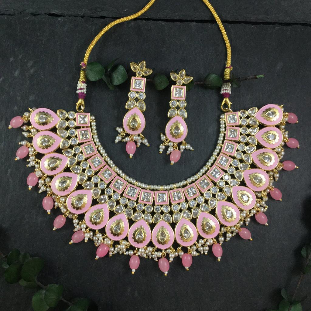 A STATEMENT PASTEL PINK MEENAKARI NECKLACE WITH MATCHING EARRINGS BY REEMAT DESIGNS.  ADJUSTABLE LENGTH.