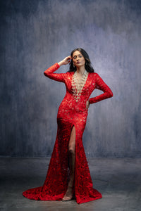 ABYSS BY ABBY - FITTED RED LACE GOWN FEATURING A PLUNGING NECKLINE AND FLOOR LENGTH FISHTAIL SKIRT WITH A FRONT SLIT