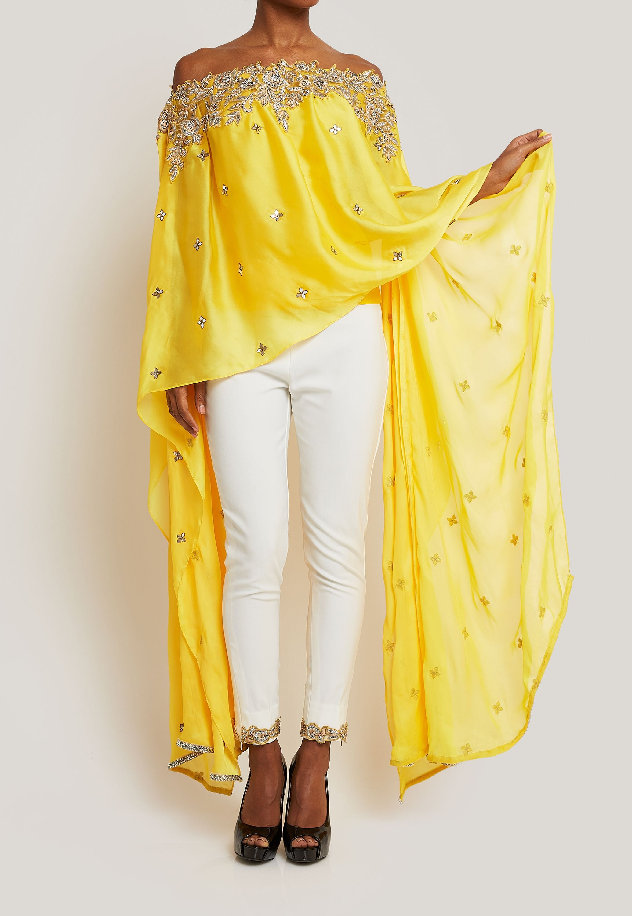 SUJATA AND SANJAY YELLOW CAPE TOP WITH WHITE PANTS